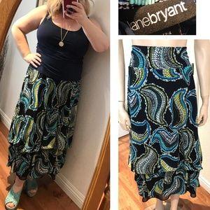 Lane Bryant Paisley Chiffon Maxi Skirt Long Full